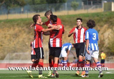 El equipo celebra un gol esta temporada | Foto: Unai Zabaleta
